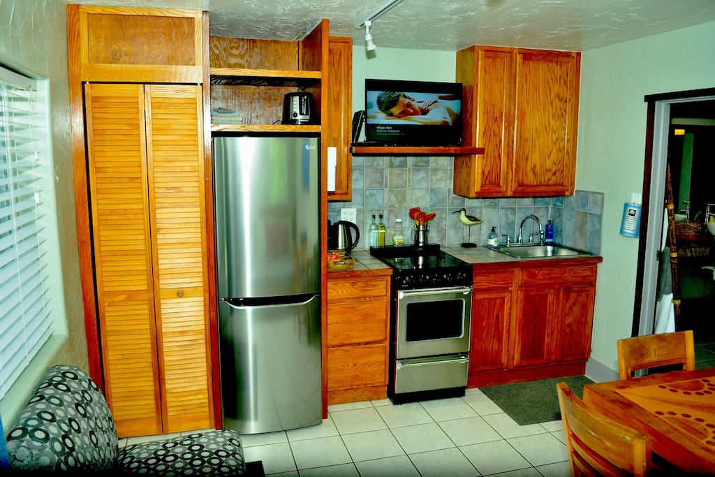 Kitchen with stainless appliances.