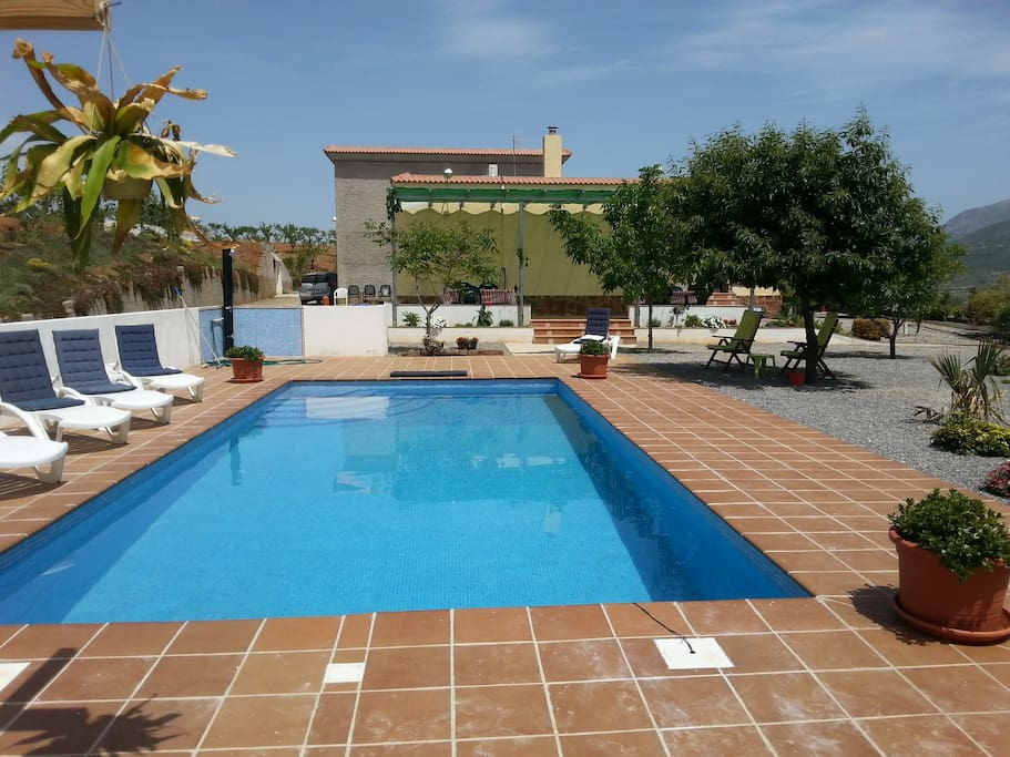 large swimming pool, in front of the house, to share with 1 other house