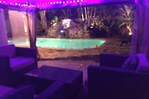 Relax in the gazebo in the evening and enjoy the night lighting