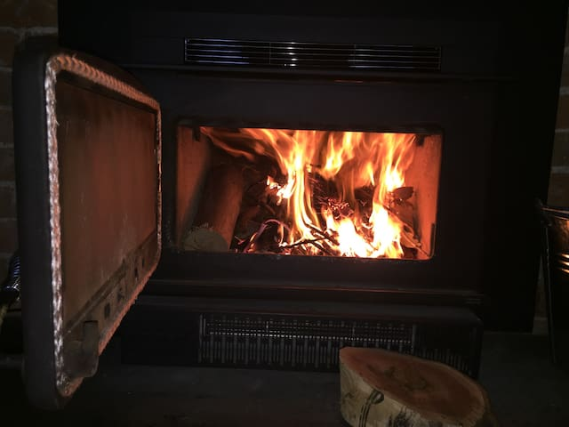 Slow combustion fireplace in family room - firewood supplied during the winter