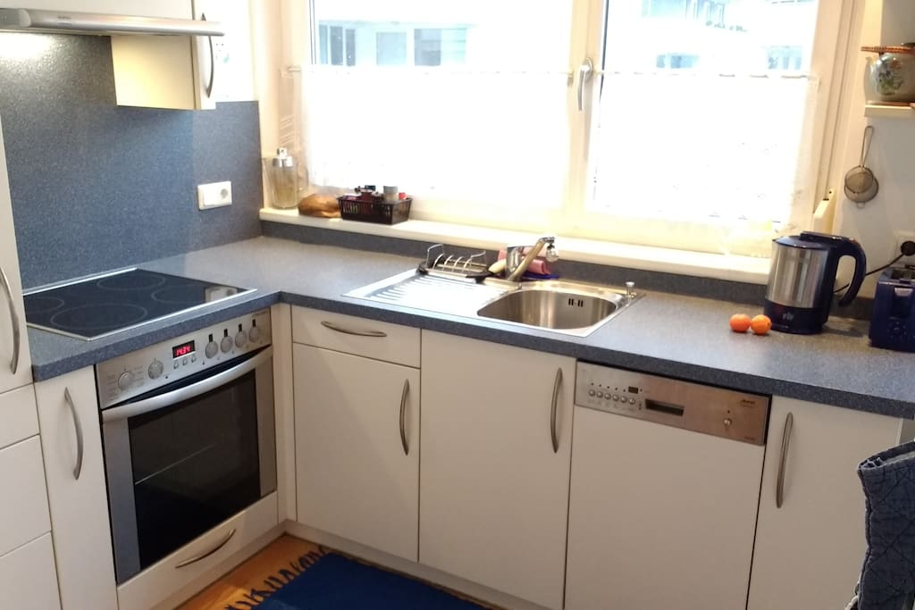 Modern kitchen, fully equipped with everything you need including dishwasher & toaster.