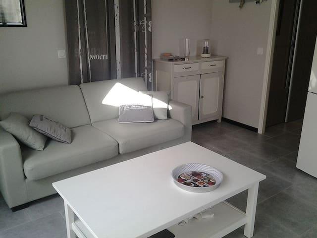 Coin salon lumineux avec accès sur la terrasse / Living-room with a terrasse access