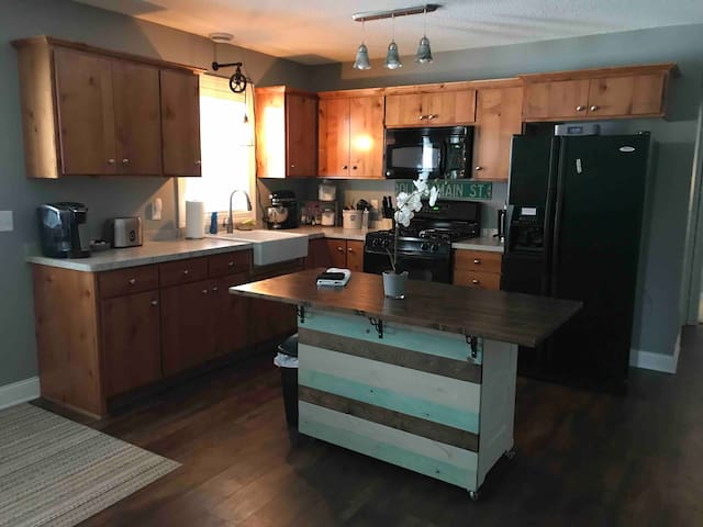 Your private kitchen with all the basic amenities including a kitchenAid mixer, Keurig coffee maker, and a tea maker.