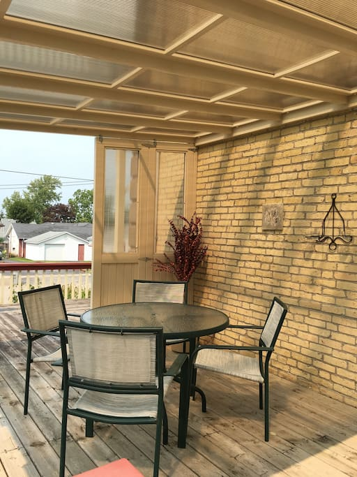 Covered deck sitting area