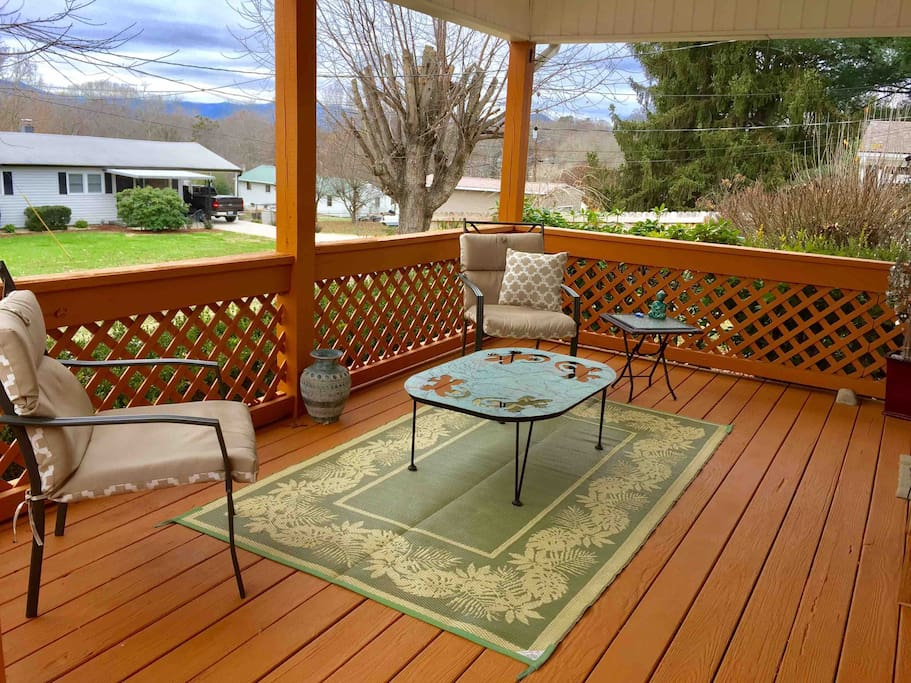 Our front deck offers a sweet outdoor area to have tea or coffee and relax.