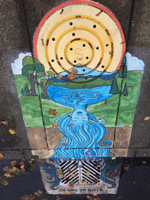 Walk the neighborhood and find the many storm drains that are whimsical works of art!