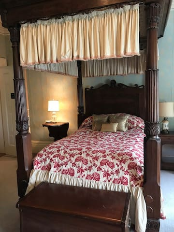 For years we have simply referred to this room as the Four Poster Room because of the massive antique bed that dominates it. Today we christen it the Alice Hay Room, in honor of Alice Hay Wadsworth, First Lady of Hartford House from 1932-1962.