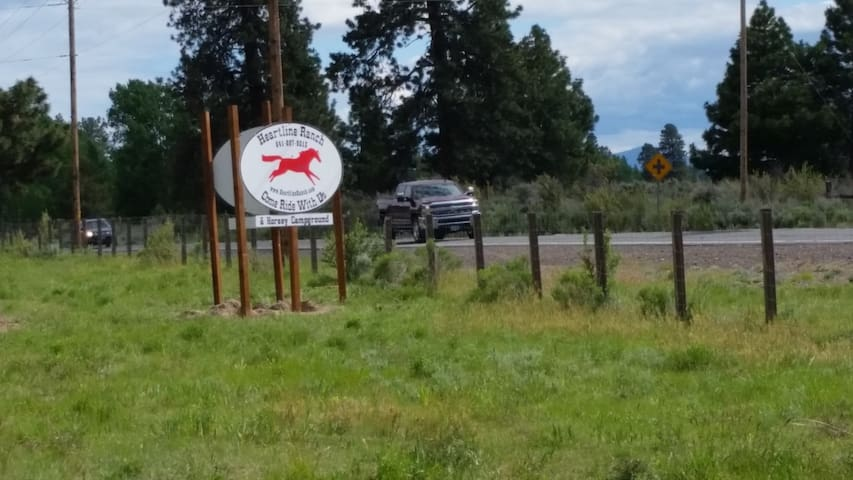 Ranch sign by the road just before you turn in