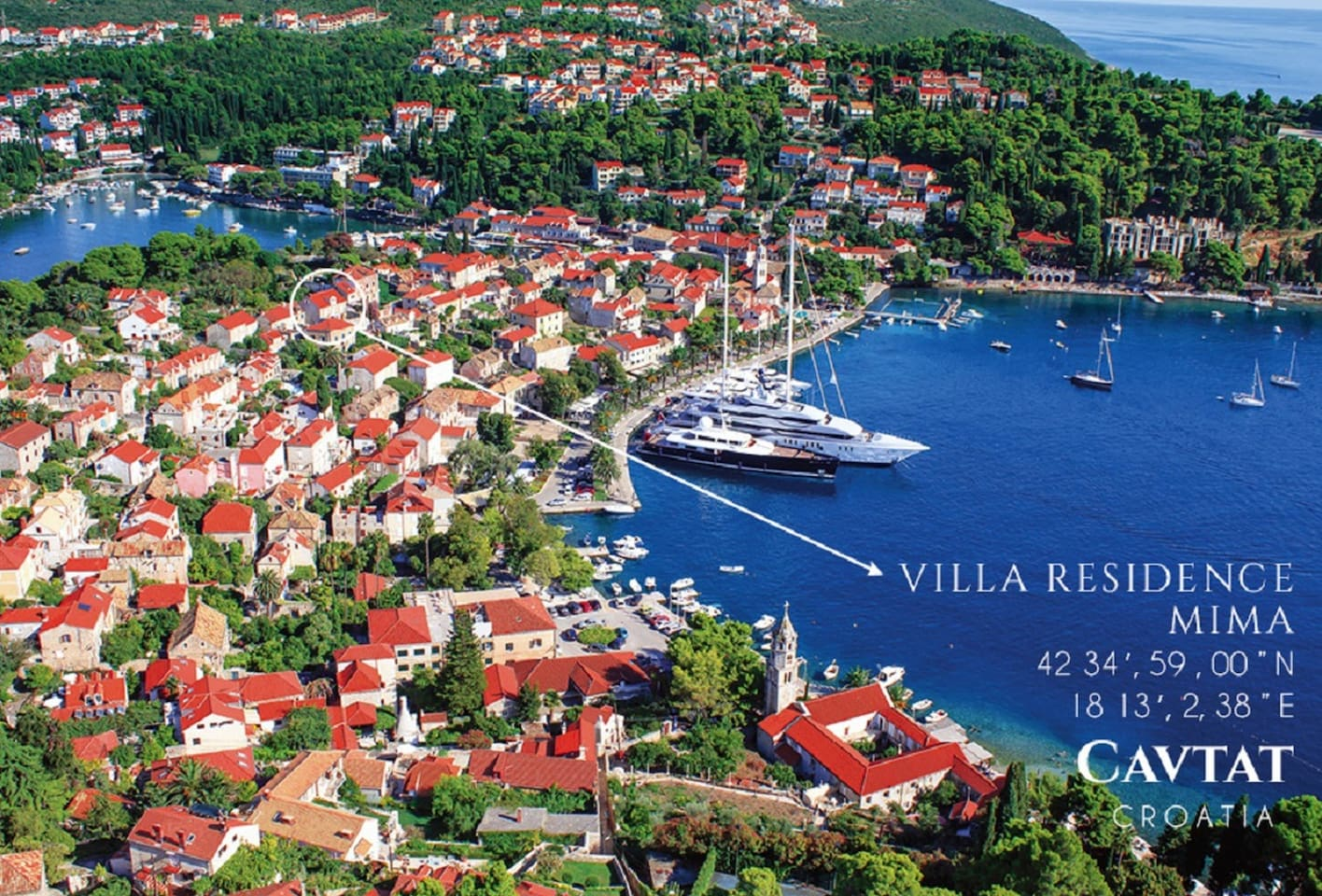 VILLA RESIDENCE MIMA-Cavtat old city pool villa near Dubrovnik Location: Central position in the medieval old City of Cavtat with a breathless view over the bay of Cavtat, Yachts, restaurants and all. Position: 42' 34,59.00 N, 18 13' 2.38 E Googl map