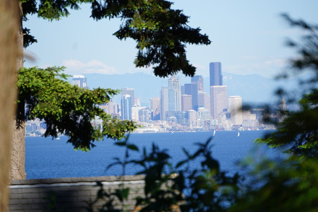 Downtown Seattle and Cascade Mountains across Puget Sound, as seen from the cottage