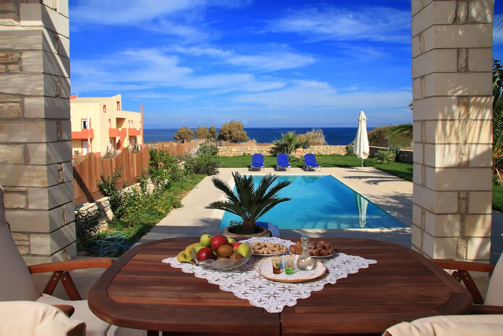 The patio and pool by the seaside