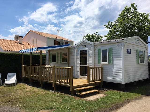 Three bed mobile home with semi covered decking