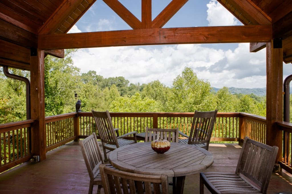 Gazebo with wood burning fireplace and AMAZING views!