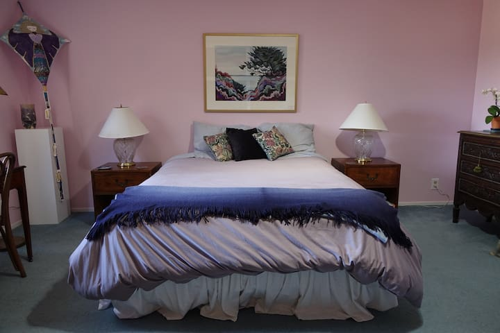 Your queen size bed with new comforter,bed, and pillows. Newly painted bedroom.