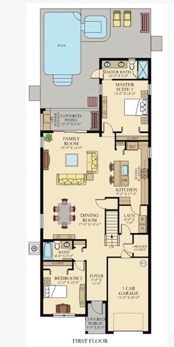 First floor plan shows two bedrooms/bathrooms on opposite sides of the house, plus the dining, living, and kitchen areas.