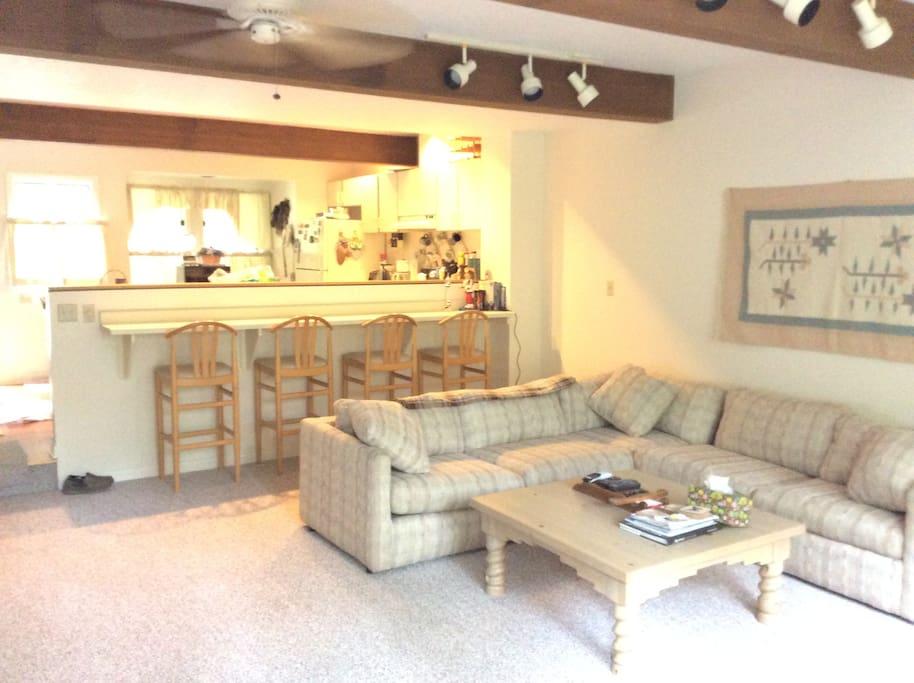 Open kitchen overlooking living room
