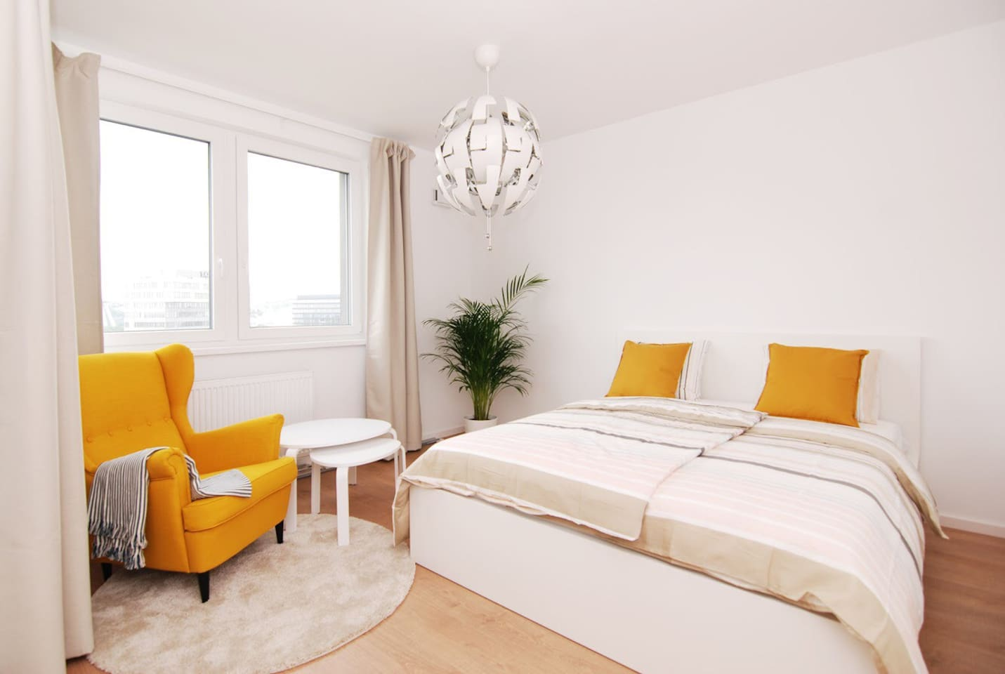 Spacious living area with king size bed