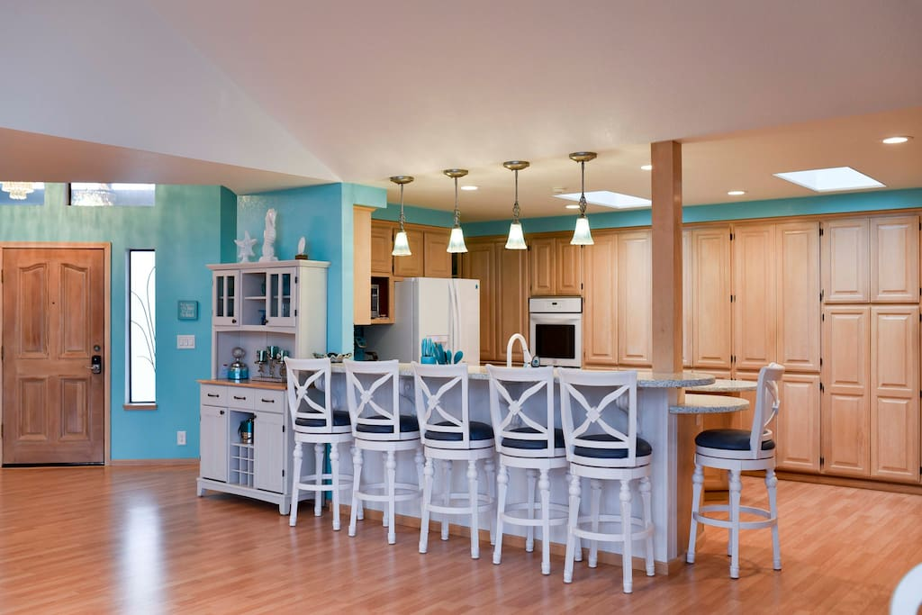 Sit at the kitchen bar and enjoy family while preparing meals.