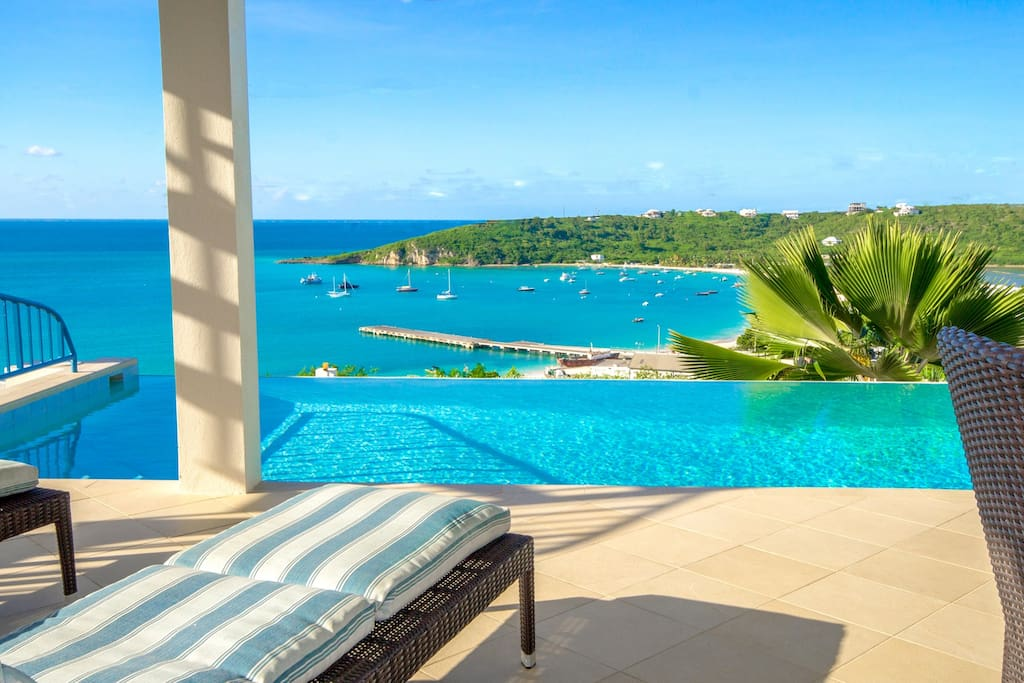 Breathtaking pool deck, infinity pool featuring Anguilla's most photographed view!