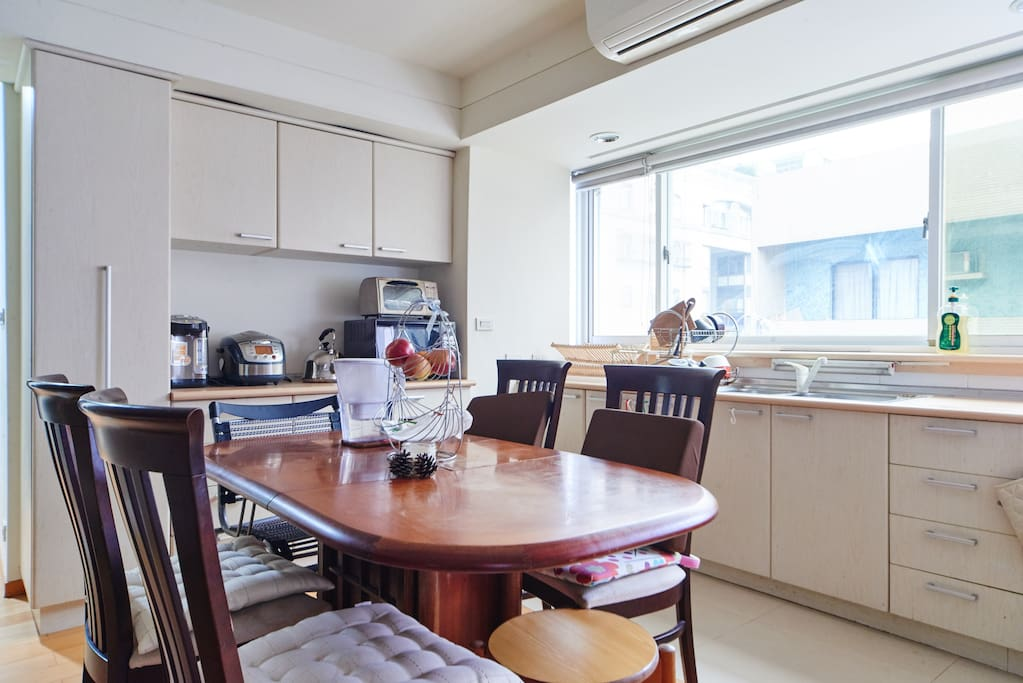 Shared kitchen with full equipment and built-in oven