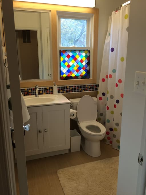 This bathroom is shared with two quiet, clean, respectful teenagers.