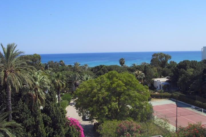 Azure apartment in Hammamet: Nice view sea, garden