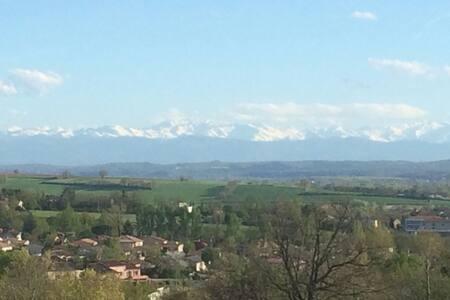 Cadre verdoyant avec piscine, vue Pyrénées... - Venerque - Villa