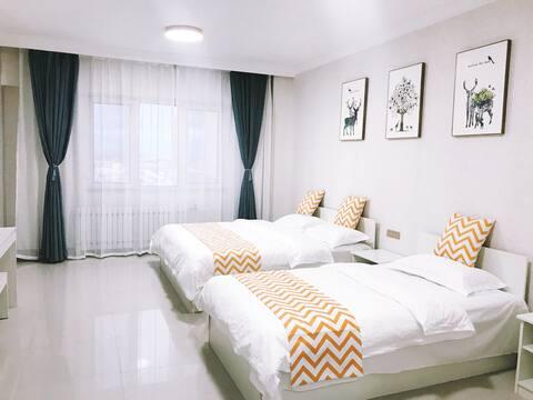 满洲里栖遇酒店式公寓·城市中心·高层观景房·家庭房