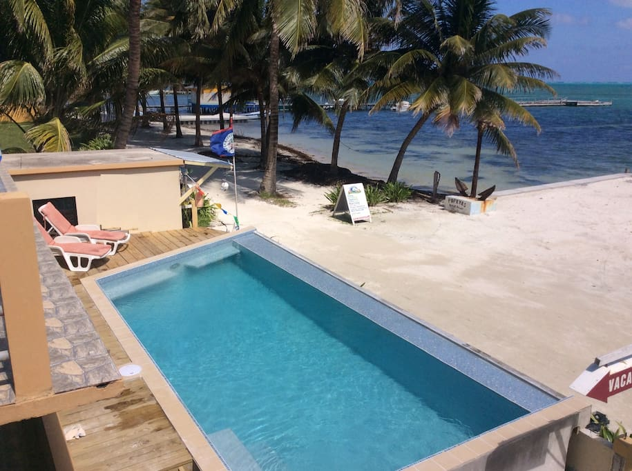 View of the pool from your balcony, 10 steps from the front door