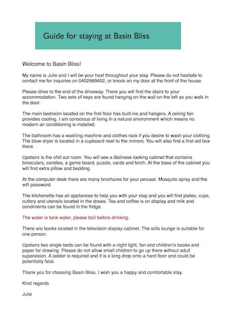 Please read through the guidelines to help with your stay at Basin Bliss. The WiFi password is: 12918874