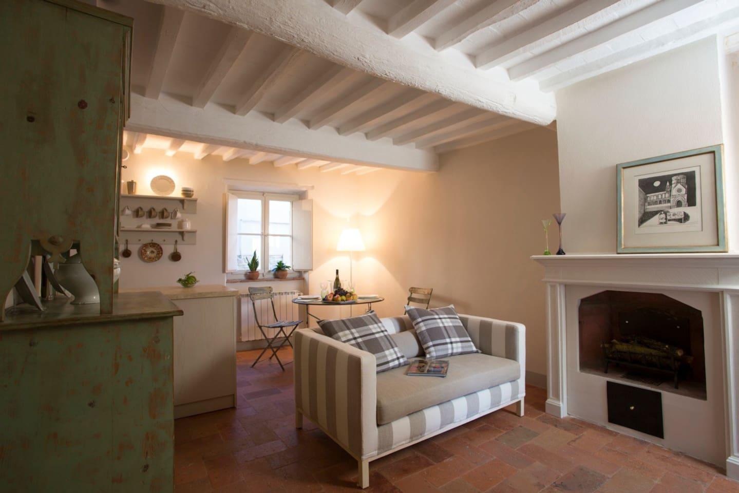 The living room and the fireplace