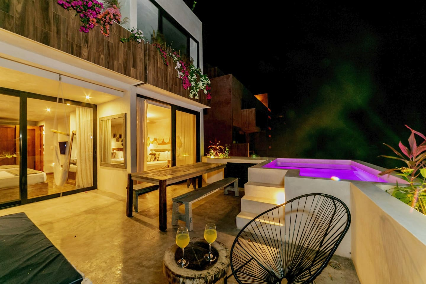 Private terrace with pool