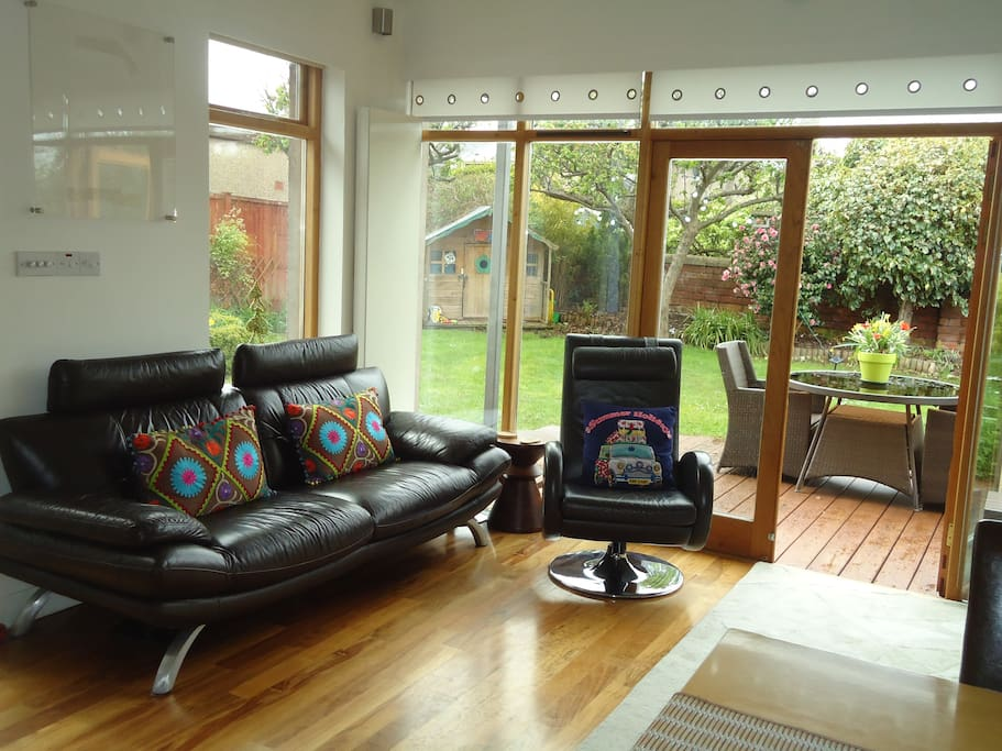 Guest relaxing garden room
