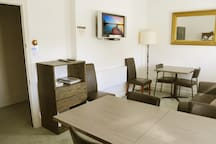 Guest common room with TV, fridge, Microwave, coffee and tea making facilities