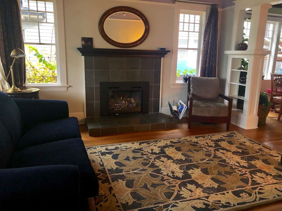 The Ahhhhh moment when you first come in the front hall and see the living room with its cheery fireplace.
