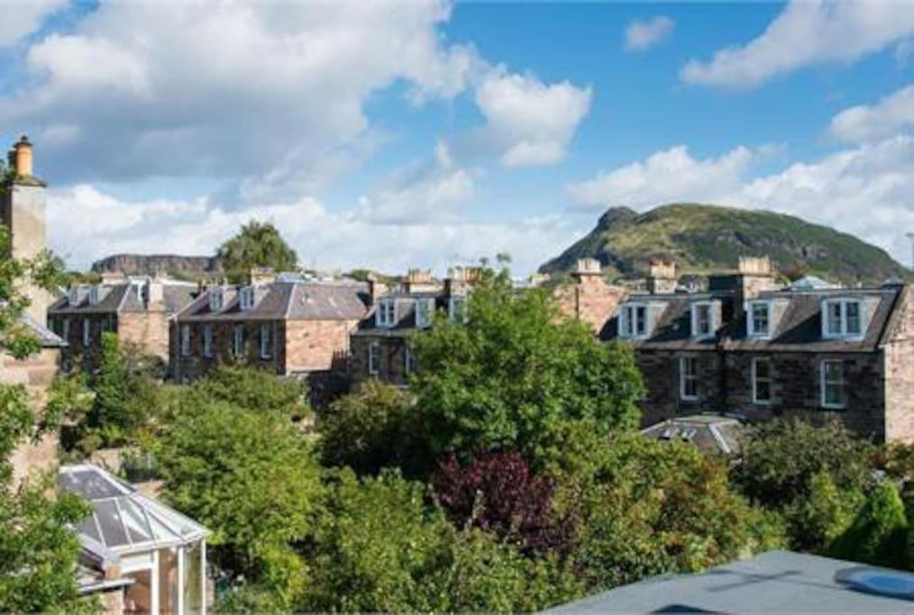The view is Arthur's Seat. The view from the top is worth the climb.
