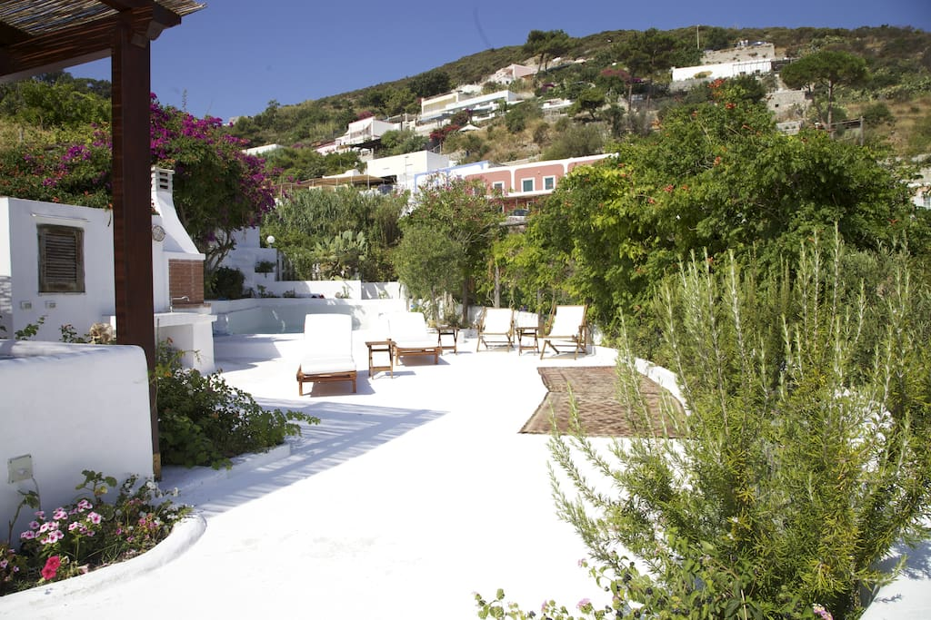A glimpse to the main terrace ready for sunbathing