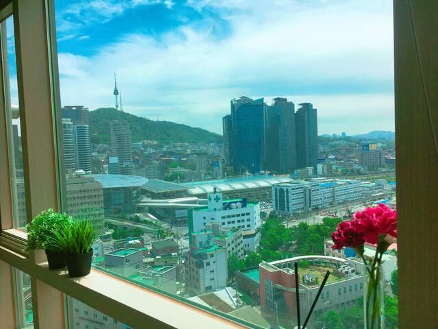 YUNA'S HOME) SEOUL STN+N Tower View+Free Egg WiFi