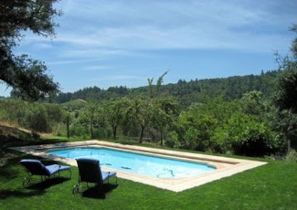 View of the pool from the deck.