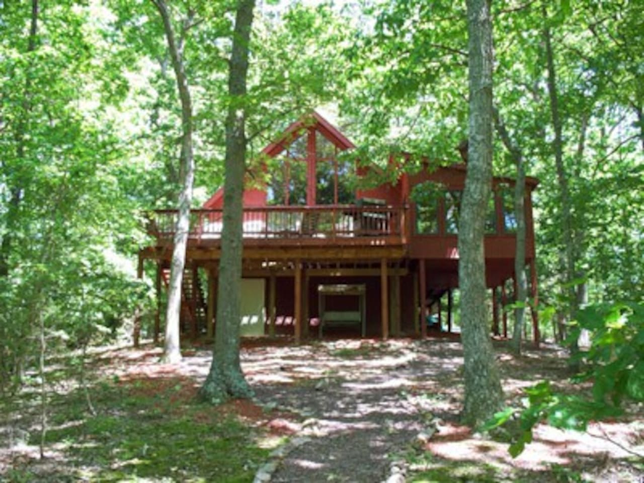 All Season's Retreat is located near Berkeley Springs, West Virginia.  Nestled in the Woods Resort area. Golf course views, resort amenities available.