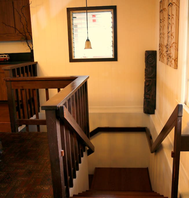 The Japanese inspired entry and warm island touches throughout.