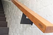 Upon entry Tasmanian Hardwood rail by local designers Mondo Collective.