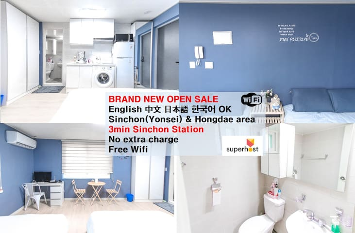 ☆203 Brand-New Large 2Rooms+3Beds/3Min Sinchon Stn
