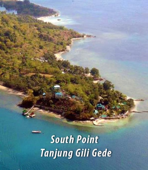 Aerial view of south point Gili Gede & Secret Island Resort showing the two 'Bungalows over the Reef in bottom left.