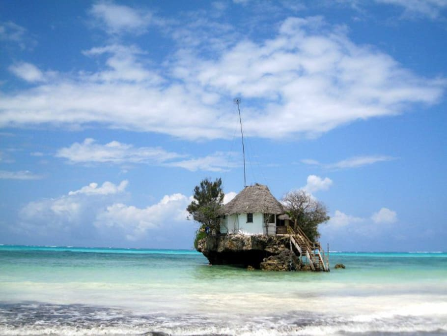 The famous Rock Restaurant Zanzibar. 100 meters along the beach.