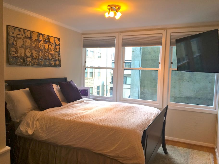 "Queen sized bed with luxury linens, new, 50"" Samsung HDTV with full cable stations.  Blackout shades for full darkness."