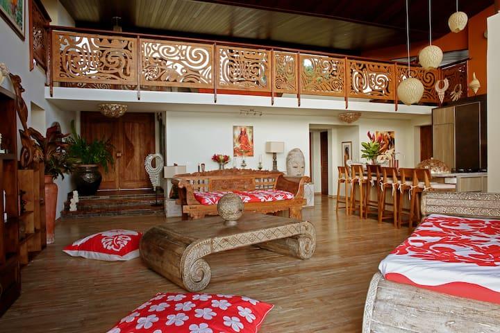 Salon ouvert sur la cuisine