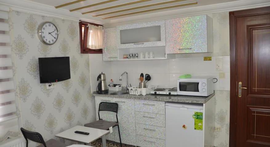studio double room with kitchen