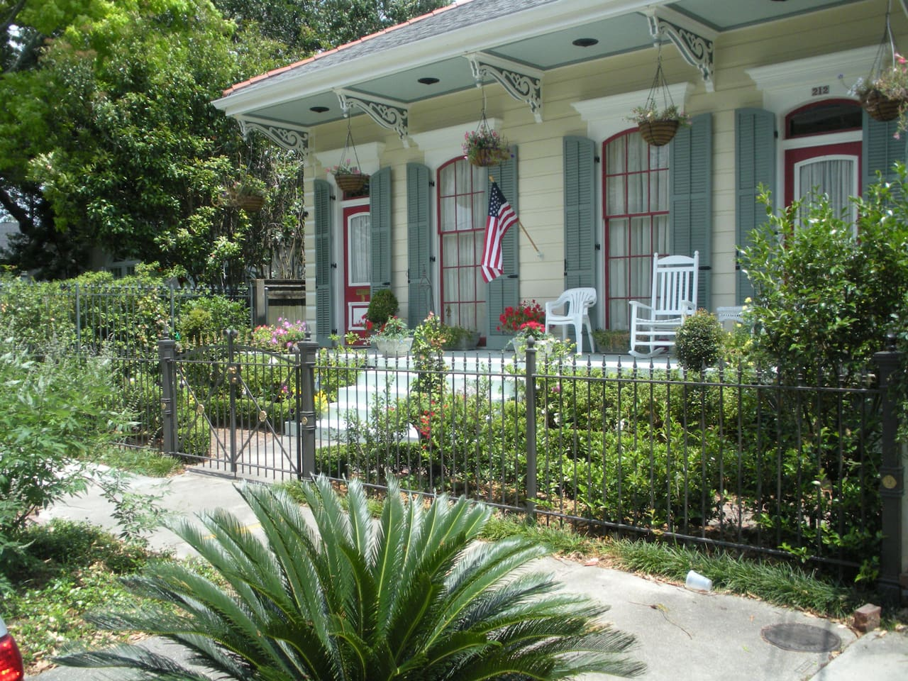 Front Entrance and Gardens of our Stunning double shotgun house.  Come and enjoy it with us!!