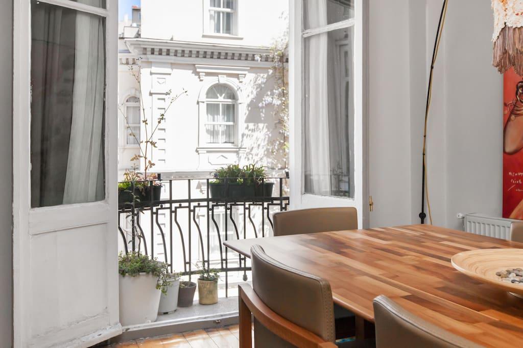 little balcony near dining table